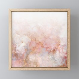 Beautiful Pink and Gold Ombre marble under snow Framed Mini Art Print