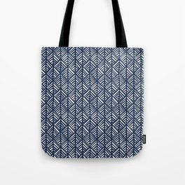 Abstract Leaf Pattern in Blue Tote Bag