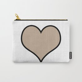 Pantone Hazelnut Heart Shape with Black Border Digital Illustration, Minimal Art Carry-All Pouch