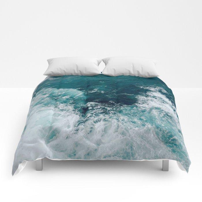 Ocean Waves (Teal) Comforters