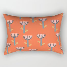 Cute Floral Pattern in Orange Rectangular Pillow