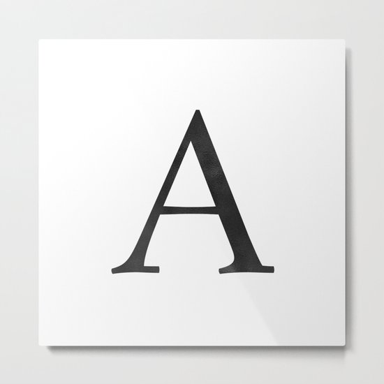 Letter A Initial Monogram Black and White Metal Print