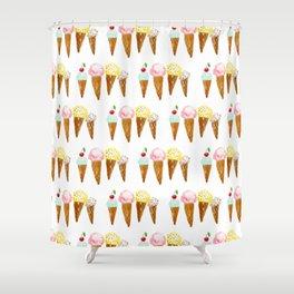 Ice Creams, Watercolor Ice Creams Shower Curtain