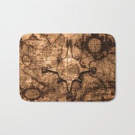 Antique World Map & Compass Rose Bath Mat