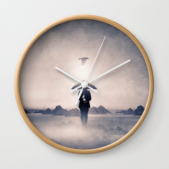 Waiting for the rain (colour option) Wall Clock