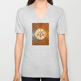 Traditional antique clock face with Roman numerals on multiple brass bases Unisex V-Neck