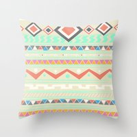 native Throw Pillows featuring Native by Nika