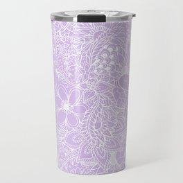 Modern trendy white floral lace hand drawn pattern on pastel lavender Travel Mug