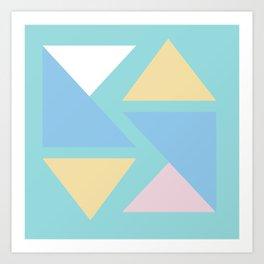 Triangle origami pastel pattern art Art Print