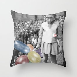 Girl with Balloons Throw Pillow