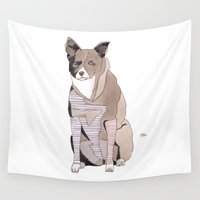 striped Wall Tapestries featuring Striped Dog by Yuliya