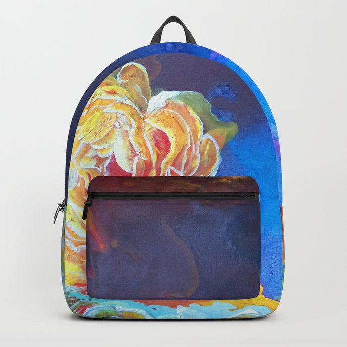 Mad Lucy's Golden Roses. Yellow Roses and Galaxy Blue. Backpack