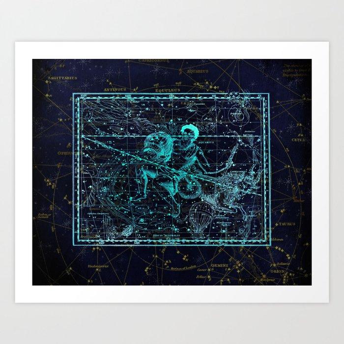Aquarius, Constellation map, Zodiac, Sign sky, Stars, Universe, astrology, astrological Kunstdrucke