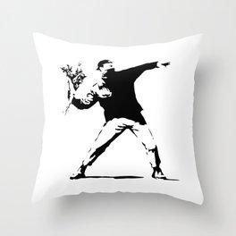 Rage, Flower Thrower - Banksy Throw Pillow
