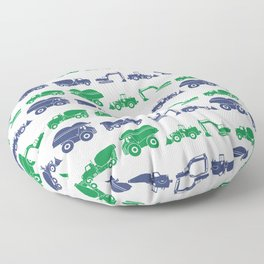 Blue and Green Construction Vehicles Floor Pillow