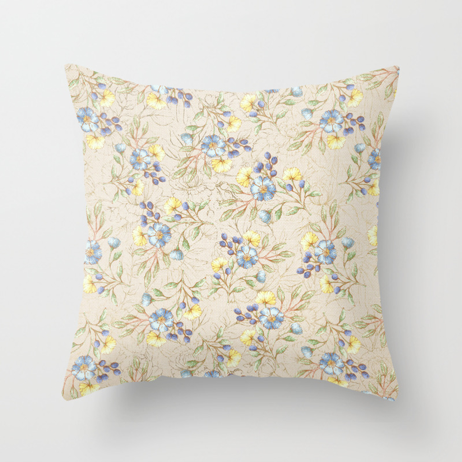 Yellow Gold Throw Pillows.Vintage Ivory Linen Blue Yellow Gold Floral Pattern Throw Pillow
