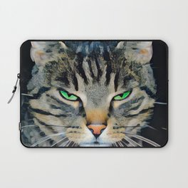 Angry Tabby Cat With Green Eyes Laptop Sleeve