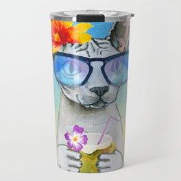 Aloha Cat // sphynx cat on holiday at the beach Travel Mug