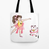 bee and puppycat Tote Bags featuring Ballet Bee by Sudden Kittens