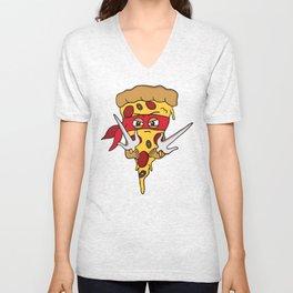 Red Ninja Pizza Unisex V-Neck