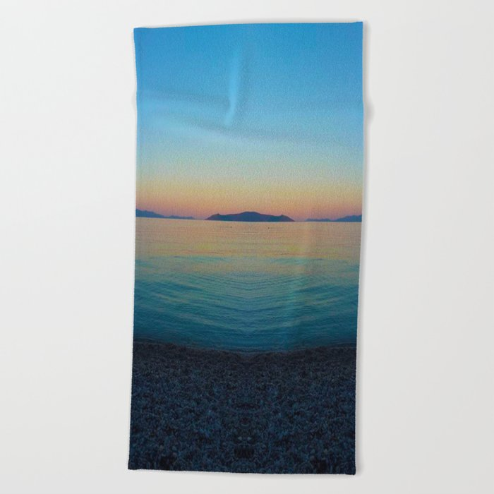 Sunset Greek Island Beach Towel
