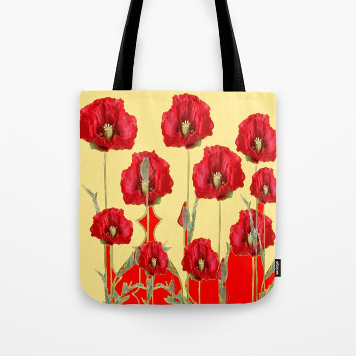 3c749e03e4a RED POPPIES ON CREAM ART NOUVEAU DESIGN Tote Bag by sharlesart | Society6