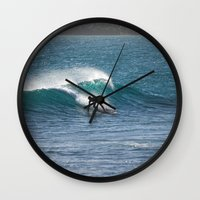surfer Wall Clocks featuring Surfer by MapMaster