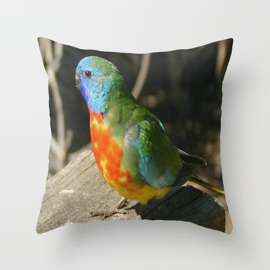 Red Scarlet Chested Parrot Throw Pillow