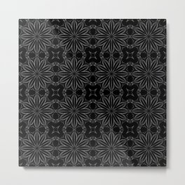 Black Floral Pattern Metal Print