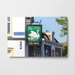 'The Swan' sign in the streets of the old hanseatic city of Kampen. | Travel photography from the Netherlands | Fine art photo print.  Metal Print