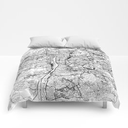 Prague White Map Comforters