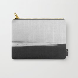 Iceland Black Sand Beach - Abstract Minimalist Black and White Photo Print Carry-All Pouch