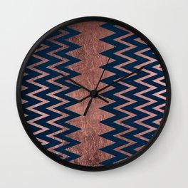Navy blue faux rose gold watercolor geometric chevron Wall Clock
