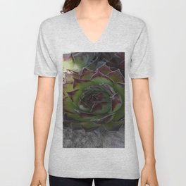 Red and green succulent. Unisex V-Neck