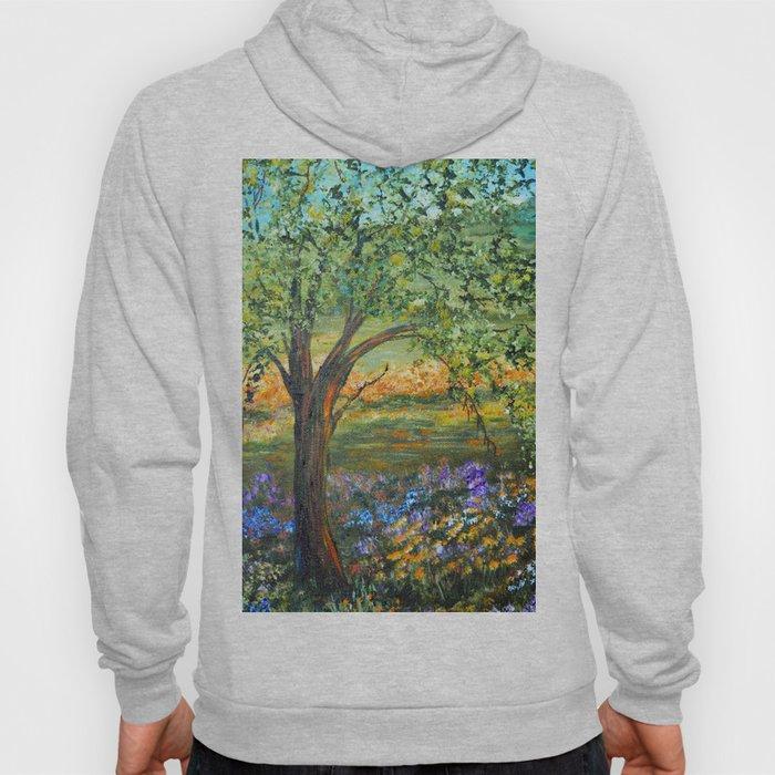 Serene Meadow, Impressionism Landscape Hoody