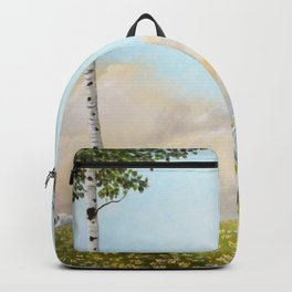 Afternoon on the Hill Birch Tree Painting Backpack