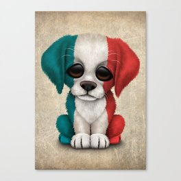 Cute Puppy Dog with flag of France Canvas Print