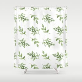 Forest green white hand painted botanical foliage Shower Curtain
