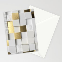 Elegant Cube wall 3D art- white and gold Stationery Cards