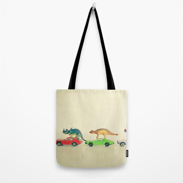 Dinosaurs Ride Cars Tote Bag