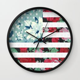 US Flowers Wall Clock