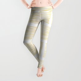 Luxury Gold Foil Geometric Stripes Vector Pattern Hand Drawn Abstract Lines Leggings