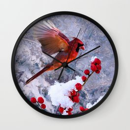 Red Birds of Christmas Wall Clock