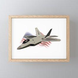 F22 Raptor with the American National Flag Framed Mini Art Print