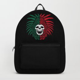 Mexico Flag - Aztec Warrior Skull - Mexico Roots Backpack