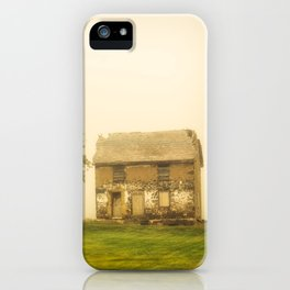 Abandoned House in Foggy Field Rustic Landscape Photograph iPhone Case