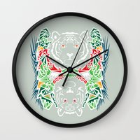 tigers Wall Clocks featuring Tigers #2 by Ornaart