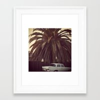 mercedes Framed Art Prints featuring Palm Tree, Mercedes, California by ALLISON WATKINS