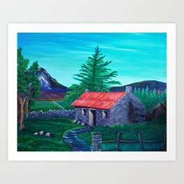 Red Roof Cottage Art Print