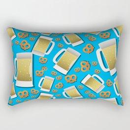 Beer and pretzel pattern on blue background German Bavarian Oktoberfest Rectangular Pillow